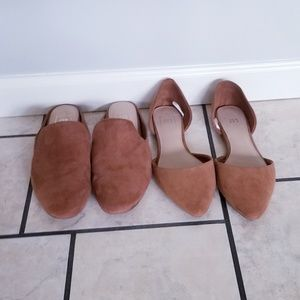 Two pair of tan Gap flats size 10